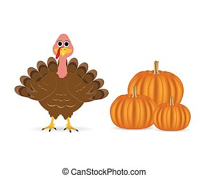 Cartoon turkey with pumpkins on the feast day of...