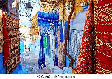 beau, bleu,  chefchaouen,  medina, maroc