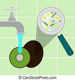 Washing contaminated kiwifruit - Contaminated kiwifruit...