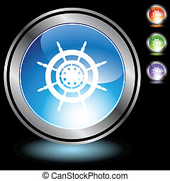 Ship Steering Wheel web button isolated on a background.