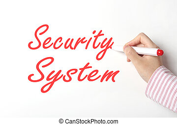 Security system concept - Business woman writing security...