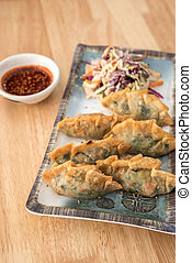 Korean Style Gyoza, Vegeterian Potstickers and pork