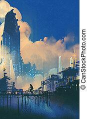 sci-fi cityscape with slum and futuristic...
