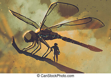 giant mechanical dragonfly,sci-fi concept - pilot standing...