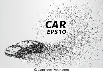 Car from the particles. Car crumbles into small circles and...