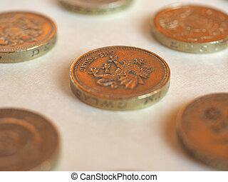 Pound (GBP) coin, United Kingdom (UK) - Array of Pound (GBP)...