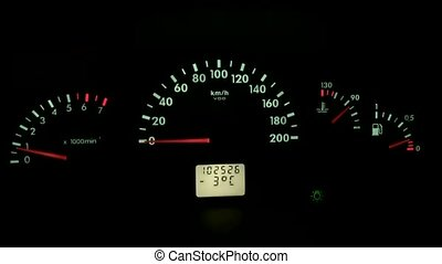 speedometer of a car dashboard at night auto - speedometer...