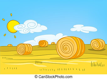 Cartoon background of field with straw bales.