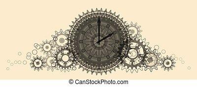 Retro Clock. Pale beige Illustration. - Retro Clock. Pale...