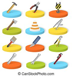 Set of twelve industrial, construction, engineering tools in isometric style