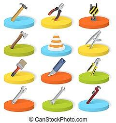 Set of twelve industrial, construction, engineering tools in isometric style