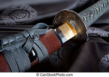 Japanese sword on silk - Real Japanese samurai sword on...