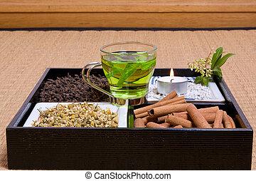 Herbs on tatami