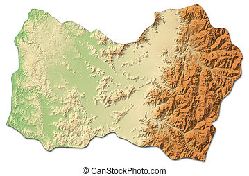 Relief map - O'Higgins (Chile) - 3D-Rendering