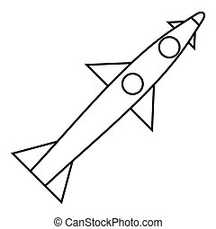 Rocket flies icon, outline style