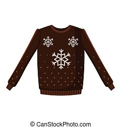 Brown sweater with snowflakes icon, cartoon style