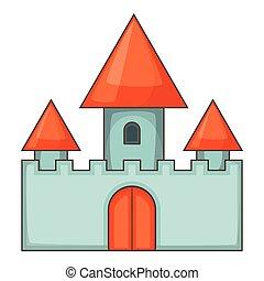Chillon castle in Montreux icon, cartoon style - Chillon...