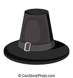 Pilgrim hat icon, gray monochrome style - Pilgrim hat icon....