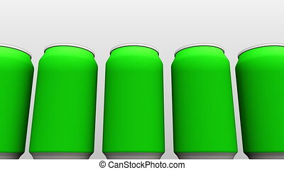 Simplified green cans against white background. Energy...