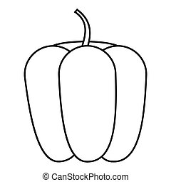 Bell pepper icon, outline style - Bell pepper icon. Outline...