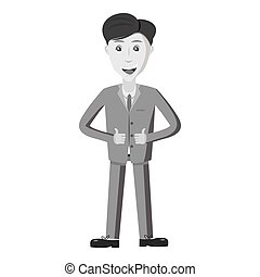 Businessman showing thumbs up icon. Gray monochrome...