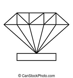 Diamond icon, outline style - Diamond icon. Outline...