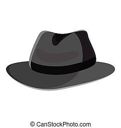 Hat icon, gray monochrome style - Hat icon. Gray monochrome...