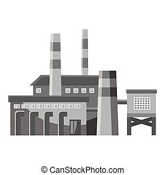 Big factory with pipes icon, gray monochrome style