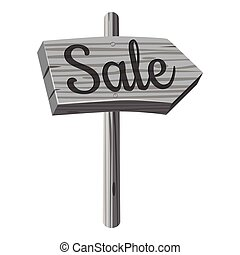 Wooden direcrion sign with Sale inscription icon. Gray...