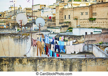 Laundry hanging on roof in Fez, Morocco