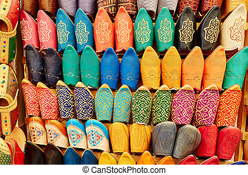 Colorful leather slippers in Marrakech, Morocco - Colorful...