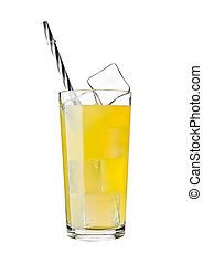 Glass of orange soda drink cold with ice cubes and straw on...