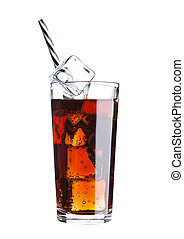 Glass of cola soda drink cold with ice cubes and straw on...