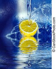 Lemon splashing in water