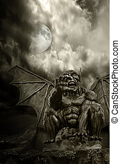 Night demon - close-up on frightening statue, with moon...