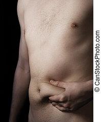 gorda, depósito, estômago