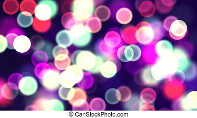 Multicolor circle bokeh. Computer generated seamless loop abstract background