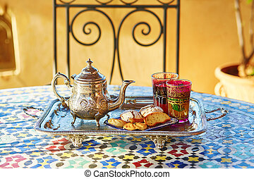 Moroccan mint tea with sweets - Traditional Moroccan mint...