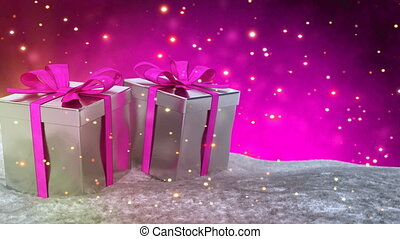 Christmas gifts in snow on pink bokeh background. Seamless...