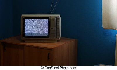 TV no signal - No reception analogue TV set, white static...