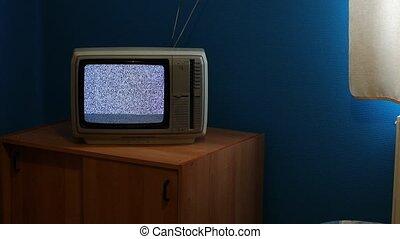 TV no signal - No reception analogue TV set, white static...