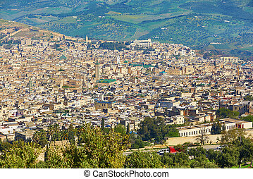 Aerial scenic cityscape of Fez, Northern Morocco, Africa