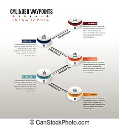 Cylinder Waypoint Infographic - Vector illustration of...