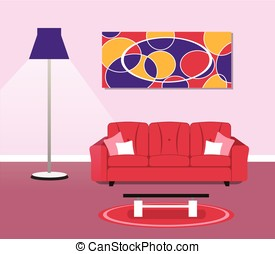 living room modern design concept - Illustration of living...