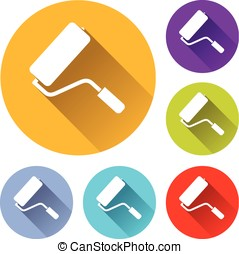 paint roller icons - Illustration of paint roller icons with...
