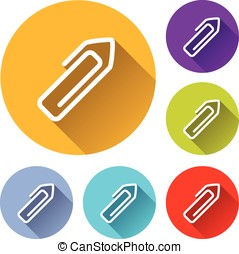 paper clip icons - Illustration of paper clip icons with...