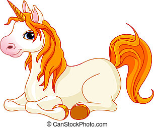 Beautiful unicorn with red mane an - Lovely unicorn with red...