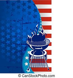 Red, White and BBQ - Labor Day barbeque background with...