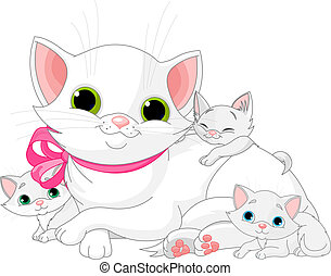 White Cats family - Illustration of white Cats family -...