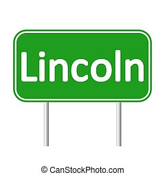 Lincoln green road sign isolated on white background